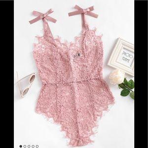Tops - Pink Ribbon Tie Shoulder Floral Lace Bodysuit 💕